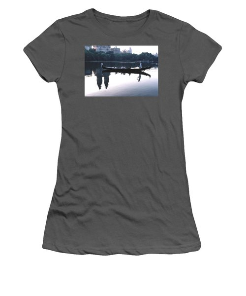 Gondola On The Central Park Lake Women's T-Shirt (Junior Cut) by Tom Wurl