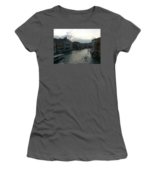 Women's T-Shirt (Junior Cut) featuring the photograph Grand Canal At Dusk by Laurel Best