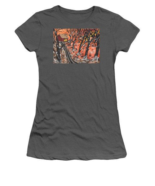 Women's T-Shirt (Junior Cut) featuring the painting Hazy Shade Of Winter by Jeffrey Koss
