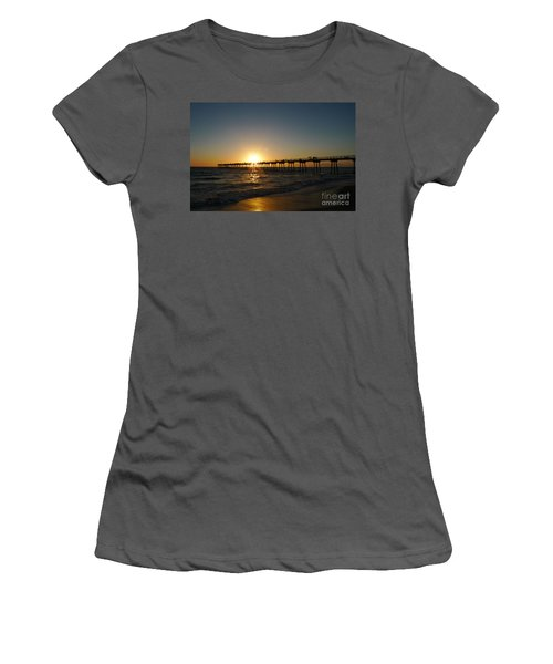 Women's T-Shirt (Junior Cut) featuring the photograph Hermosa Beach Sunset by Nina Prommer
