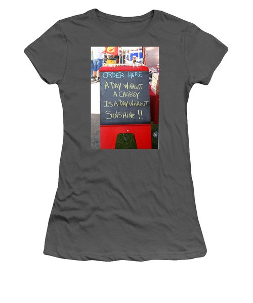 Women's T-Shirt (Junior Cut) featuring the photograph Hot Dog Stand Humor by Kay Novy