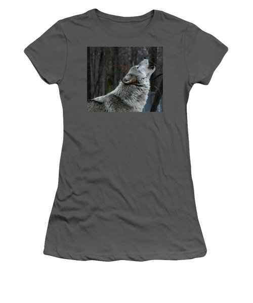 Howling Tundra Wolf Women's T-Shirt (Junior Cut) by Richard Bryce and Family