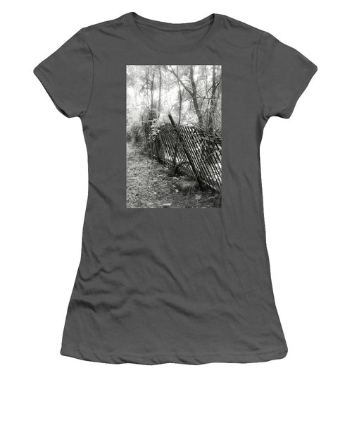 Women's T-Shirt (Junior Cut) featuring the photograph Leaning Fence by Mary Almond