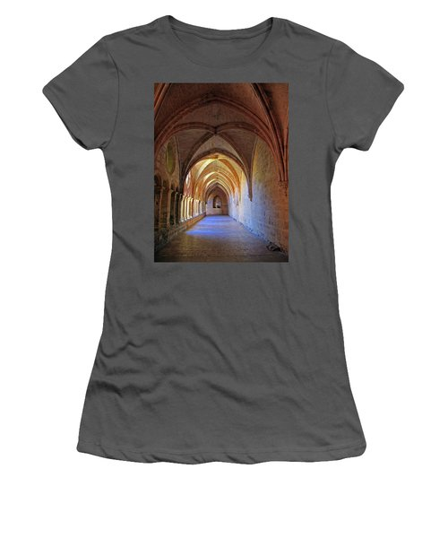 Women's T-Shirt (Junior Cut) featuring the photograph Monastery Passageway by Dave Mills