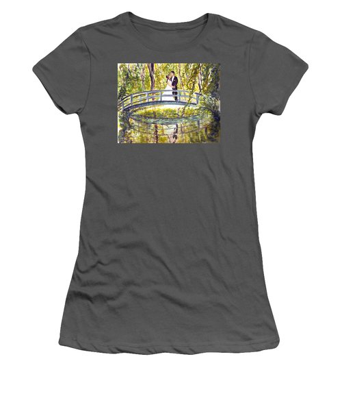 Women's T-Shirt (Junior Cut) featuring the painting Monet Wedding by Clara Sue Beym