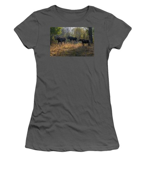 Moose Family Women's T-Shirt (Athletic Fit)