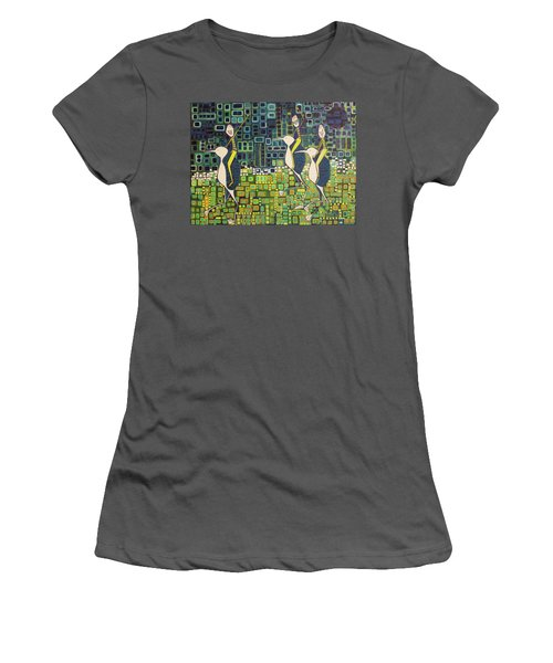 Women's T-Shirt (Junior Cut) featuring the painting New Moon Penguin Races by Donna Howard