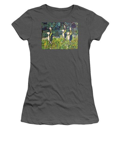 New Moon Penguin Races Women's T-Shirt (Junior Cut) by Donna Howard