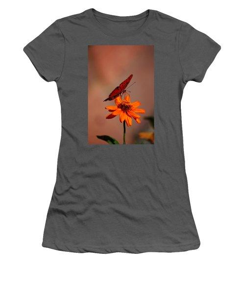 Orange Butterfly Orange Flower Women's T-Shirt (Athletic Fit)