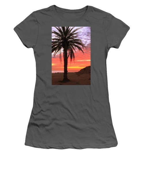 Palm Tree And Dawn Sky Women's T-Shirt (Athletic Fit)