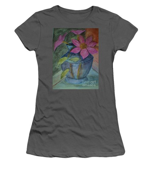 Pink Flowers In Blue Vase Women's T-Shirt (Junior Cut) by Christy Saunders Church
