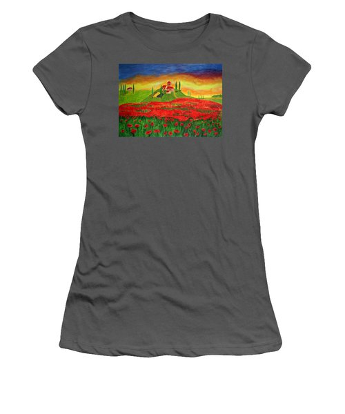 Poppy Fields Women's T-Shirt (Athletic Fit)
