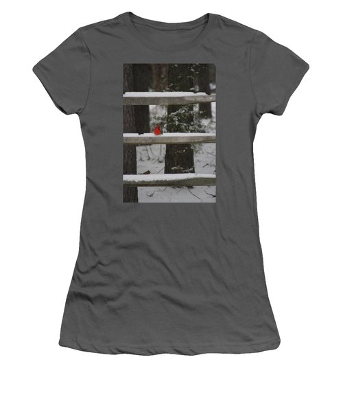 Women's T-Shirt (Junior Cut) featuring the photograph Red Bird by Stacy C Bottoms