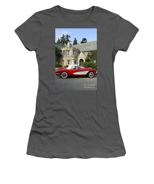 Red Corvette Outside The Playboy Mansion Women's T-Shirt (Junior Cut) by Nina Prommer