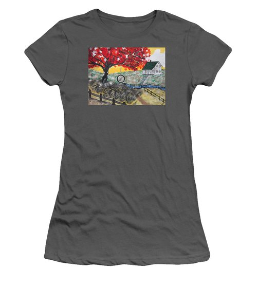 Women's T-Shirt (Junior Cut) featuring the painting Red Maple  Swing by Jeffrey Koss