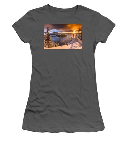 Starburst Sunrise At Crater Lake Women's T-Shirt (Athletic Fit)