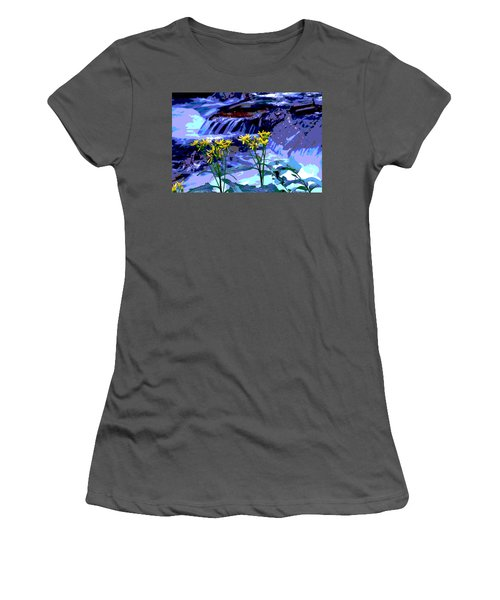 Stream And Flowers Women's T-Shirt (Athletic Fit)