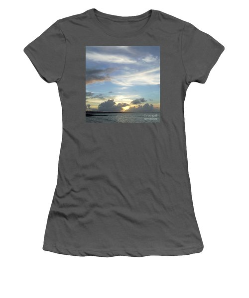 Women's T-Shirt (Junior Cut) featuring the photograph Sunset In Majuro by Andrea Anderegg