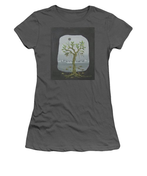 Surreal Landscape Framed  With Tree Falling Leaves Moon Mountain Sky   Women's T-Shirt (Junior Cut) by Rachel Hershkovitz