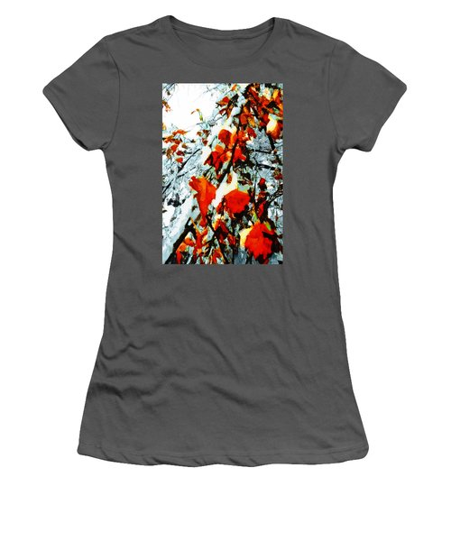 Women's T-Shirt (Junior Cut) featuring the photograph The Autumn Leaves And Winter Snow by Steve Taylor