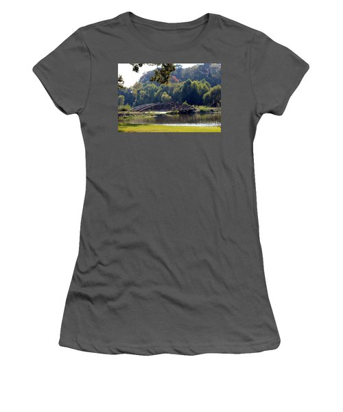 Women's T-Shirt (Junior Cut) featuring the photograph The Bridge by Kathy  White