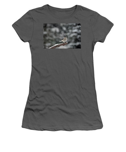 Women's T-Shirt (Junior Cut) featuring the photograph Titmouse Endures Snowstorm by Mike Martin