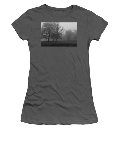 Women's T-Shirt (Junior Cut) featuring the photograph Trees And Fog by Maj Seda