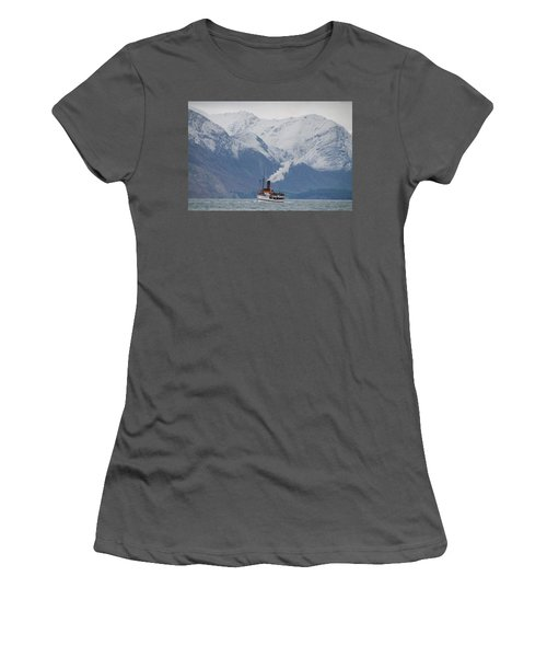 Tss Earnslaw Steamboat Against The Southern Alps Women's T-Shirt (Athletic Fit)