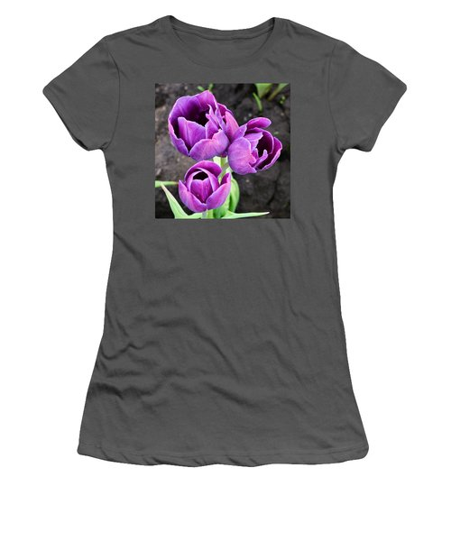 Tulips Queen Of The Night Women's T-Shirt (Athletic Fit)