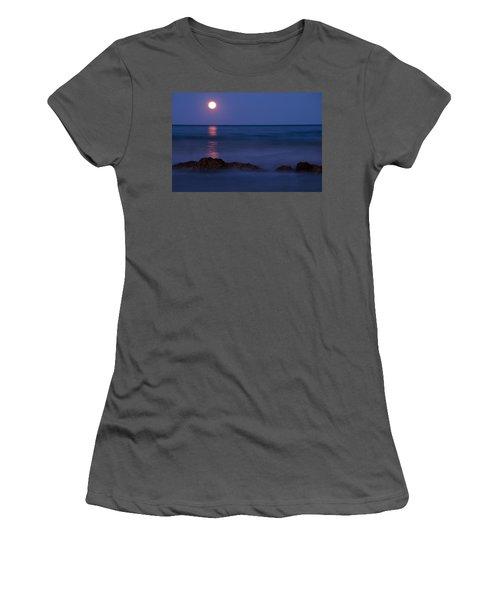 Wells Beach Maine Moonrise Women's T-Shirt (Athletic Fit)