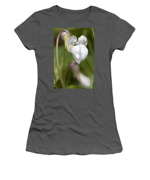 White Violet Macro Women's T-Shirt (Athletic Fit)