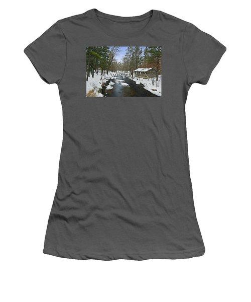 Women's T-Shirt (Junior Cut) featuring the photograph Winter Saxeville Log Cabin by Judy  Johnson