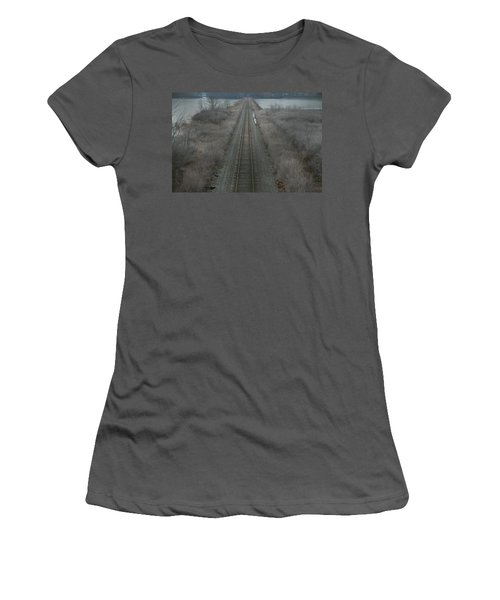 Women's T-Shirt (Junior Cut) featuring the photograph Winter Tracks  by Neal Eslinger