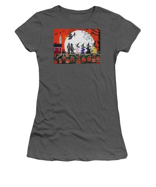 Women's T-Shirt (Junior Cut) featuring the painting  A Halloween Wedding by Jeffrey Koss