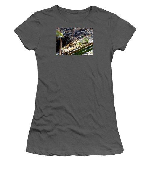 Women's T-Shirt (Junior Cut) featuring the photograph  Alligator Eye  by Chris Mercer