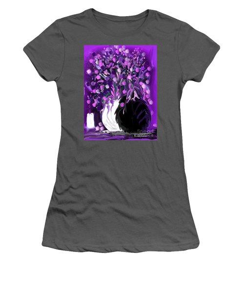 Flower Art Love Purple Flowers  Love Pink Flowers Women's T-Shirt (Junior Cut) by Sherri's Of Palm Springs