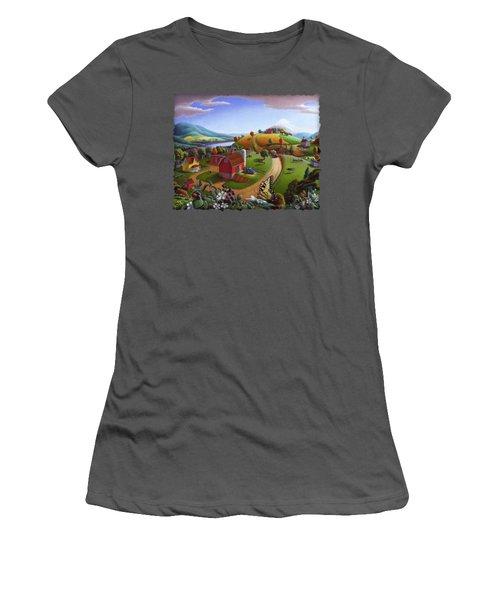 Folk Art Blackberry Patch Rural Country Farm Landscape Painting - Blackberries Rustic Americana Women's T-Shirt (Athletic Fit)