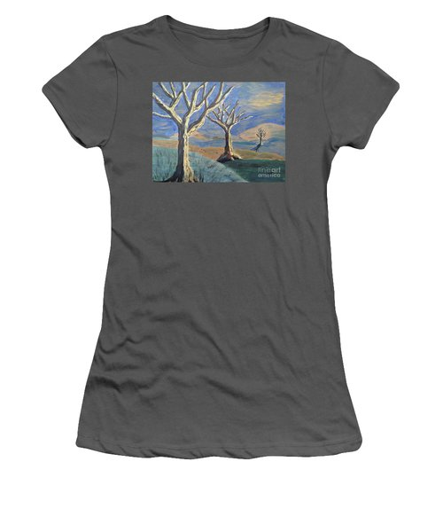 Women's T-Shirt (Junior Cut) featuring the painting Bare Trees by Judy Via-Wolff