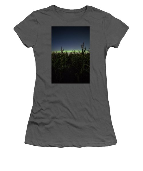 Women's T-Shirt (Athletic Fit) featuring the photograph Behind The Rows by Aaron J Groen
