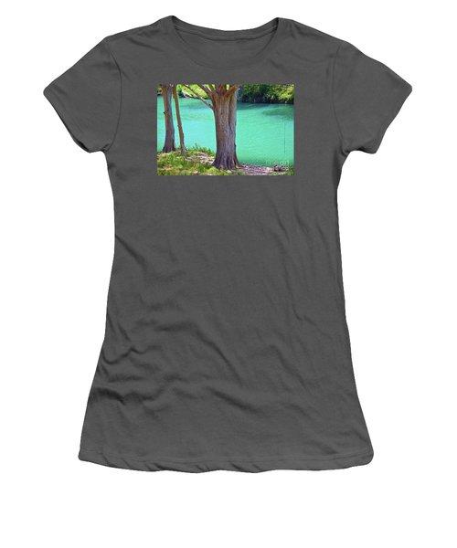 Blanco River Texas Women's T-Shirt (Junior Cut) by Ray Shrewsberry