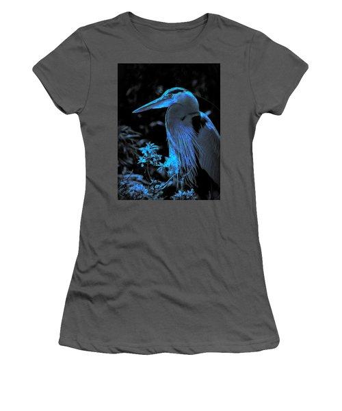 Women's T-Shirt (Junior Cut) featuring the photograph Blue Heron by Lori Seaman