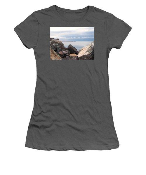 Break Wall On Lake Superior Women's T-Shirt (Junior Cut) by Phil Perkins