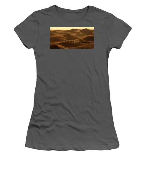 Camel Caravan In The Erg Chebbi Southern Morocco Women's T-Shirt (Athletic Fit)