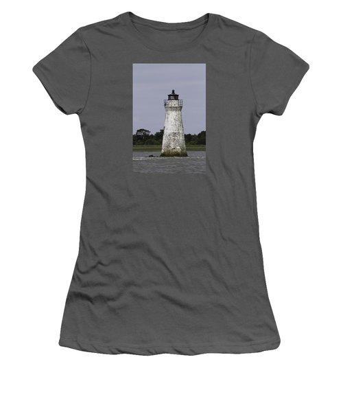 Cockspur Lighthouse Women's T-Shirt (Junior Cut) by Elizabeth Eldridge