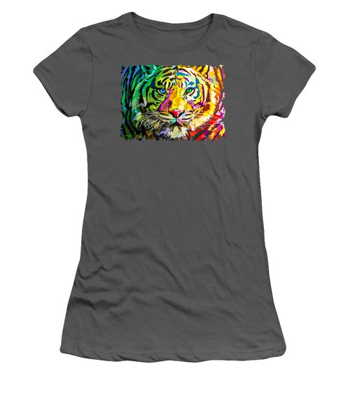 Colorful Tiger Women's T-Shirt (Athletic Fit)