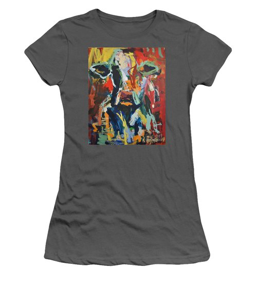 Women's T-Shirt (Junior Cut) featuring the painting Cow Painting by Robert Joyner