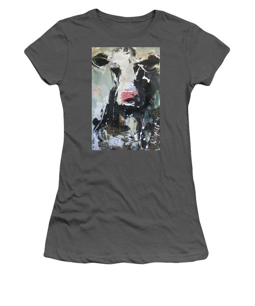 Women's T-Shirt (Junior Cut) featuring the painting Cow Portrait by Robert Joyner