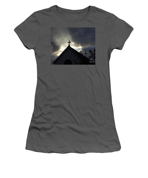 Women's T-Shirt (Junior Cut) featuring the painting Cross In Sun Rays by Debra Crank