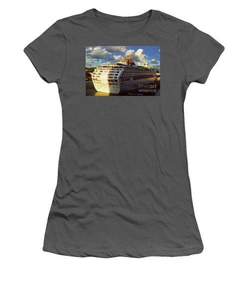 Cruise Ship In Port Women's T-Shirt (Junior Cut) by Gary Wonning