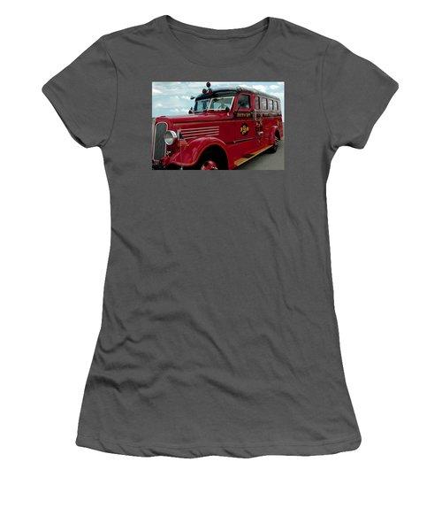 Detroit Fire Truck Women's T-Shirt (Athletic Fit)